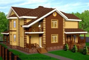 Проект дома на 2 семьи из газоблоков. Вид со двора