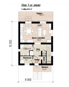 Планировка дома 8 на 10 С118
