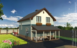 Проект дома 8 на 10 вид с террасой
