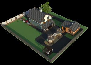готовый проект дома 8 на 10 вид на участке