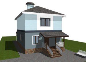 Проект дома для узкого участка С118. Ровный потолок второго этажа