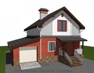 Проект С118 из блоков вид с гаражом