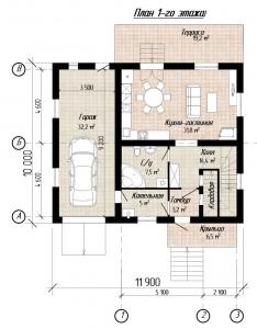 План дома 8 на 10 С118 вариант с гаражом