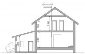 Проект готового дома С118 разрез