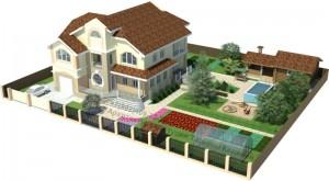 Проект двухэтажного дома из газоблоков М380 вид на участке