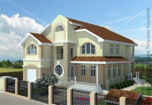 Готовый проект двухэтажного дома с круглым окном М-380