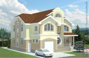 Проект двухэтажного дома из газоблоков М380 Вид со стороны гаража