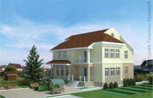 готовый проект двухэтажного дома из газоблоков М380 вид на террасу
