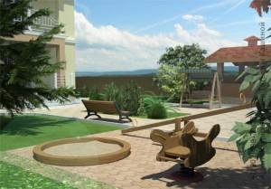 готовый проект двухэтажного дома из газоблоков М380 вид площадки для отдыха