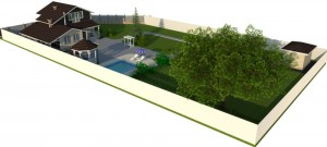 Проект дома из бруса на готовый фундамент вид на участке