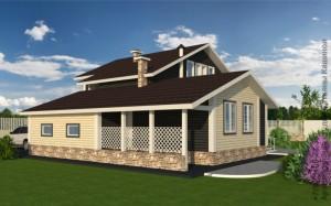 Проект дома из бруса на готовый фундамент вид сбоку