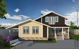Проект дома из бруса на готовый фундамент вид с участка