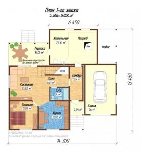 Планировка первого этажа дома из бруса на готовый фундамент