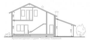 Проект дома из бруса на готовый фундамент разрез