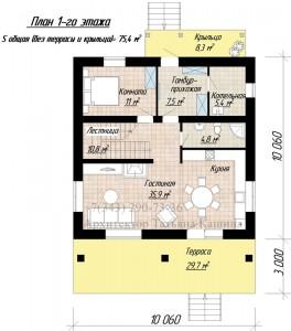 Планировка первого этажа дома 10 на 10