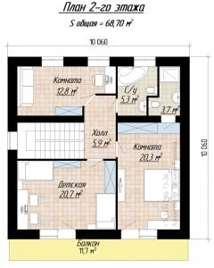 План второго этажа дома 10 на 10