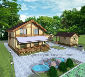 Проект дома 10 на 10 вид со двора