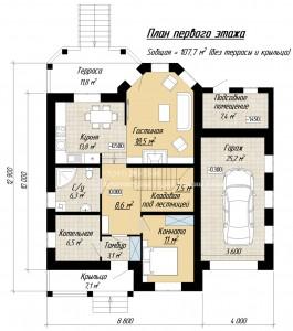 Планировка дома с башней и комнатой на первом этаже. План 1 этажа