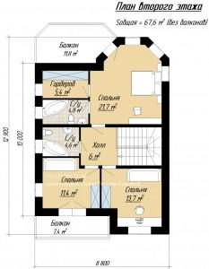 Планировка дома с башней и комнатой на первом этаже. План 2 этажа