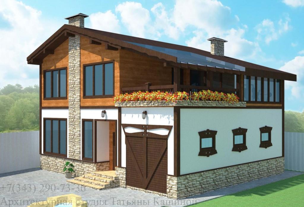 Проект дома из арболитовых блоков с гаражом