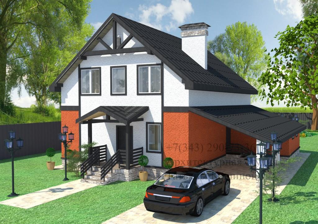 Проект дома из блоков с мансардным этажом