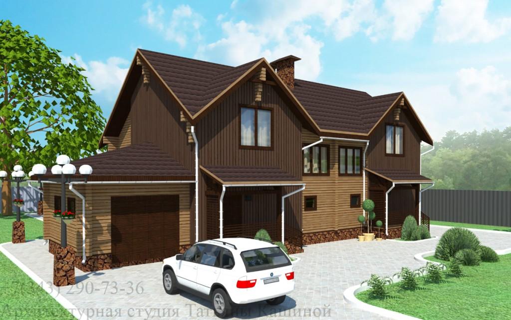 Проект дома из бруса на две семьи в современном стиле