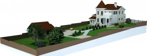 Проект дома с башней М-174. Вид на участке