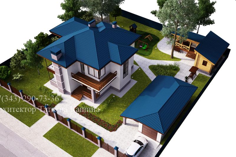 Архитектурный ландшафтный дизайн участка. Дом с синей кровлей