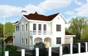 Проект дома с башней М-174. Главный фасад