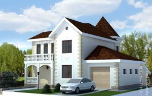 Проект дома с башней М-174. Вид со стороны гаража
