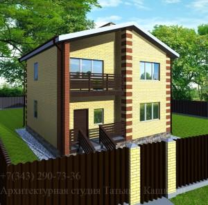Проект дома 9 на 10 с отделкой желтым кирпичом