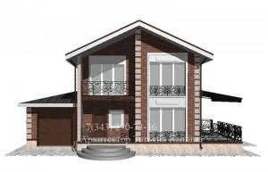 Проект двухэтажного дома 9 на 10 вид с гаражом