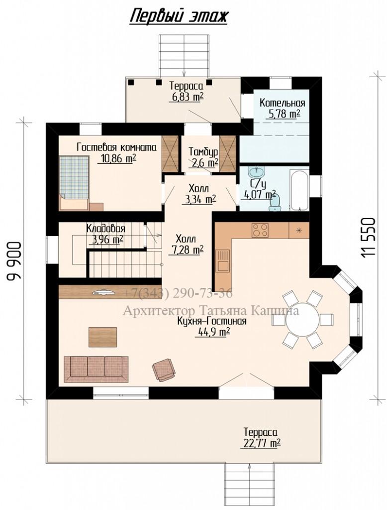 планировка дома 10 на 10 с эркером первый этаж