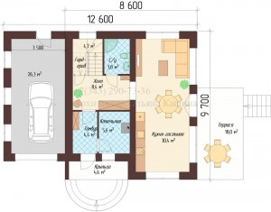 Планировка дома 9 на 10 с гаражом