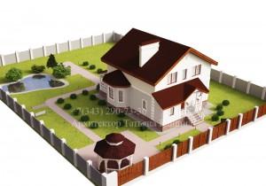 проект дома 10 на 10 М152 вид на участке