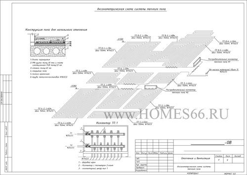 Аксонометрическая схема системы отопления. Теплые полы