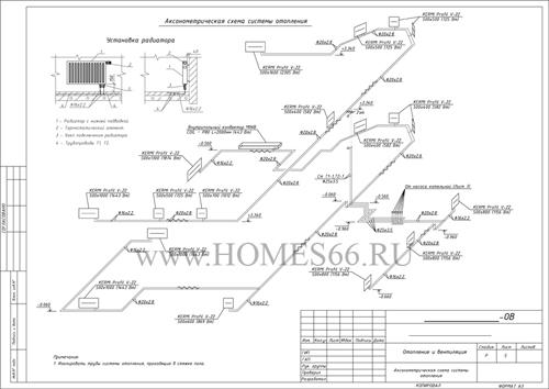 Аксонометрия системы отопления