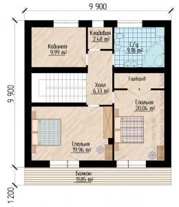 М142. Планировка первого этажа дома 10 на 10 метров с гаражом
