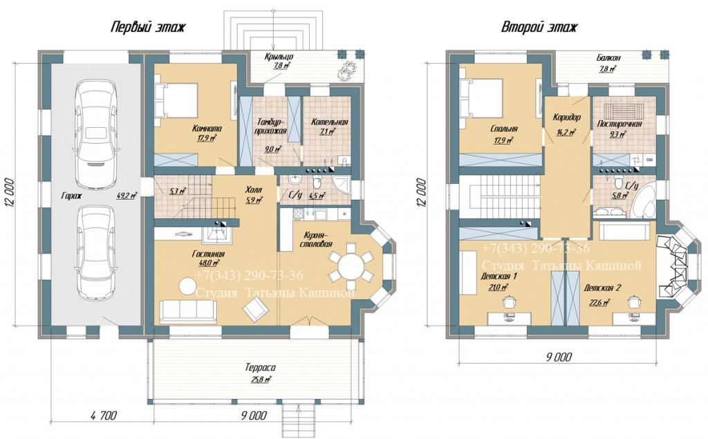 Планировки двухэтажного дома с эркером М-189