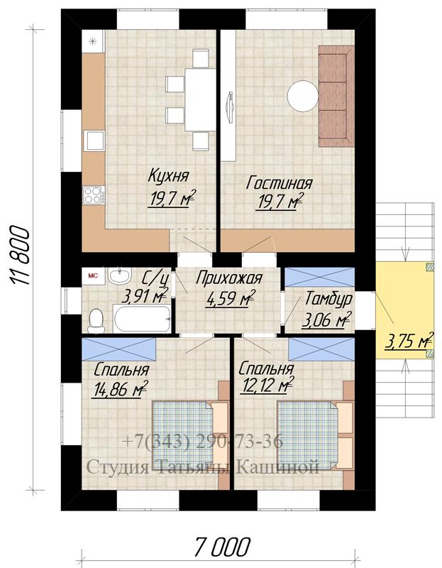 Планировка одноэтажного дома с 2 спальнями