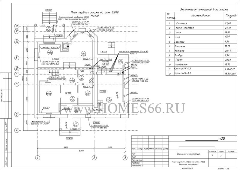 План отопления 1 этаж