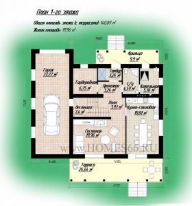 М142-Г Планировка первого этажа дома 10 на 10 метров с гаражом
