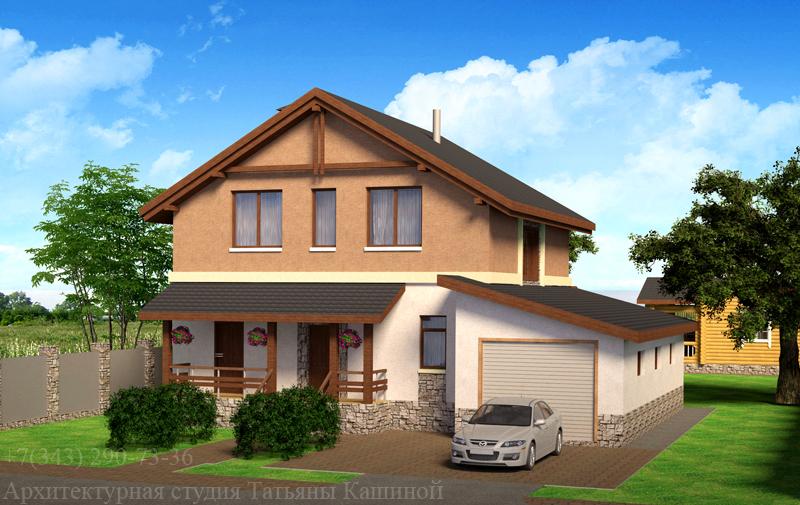 Проект дома 10 на 10 с гаражом 142 кв.м.