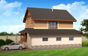 Проект дома 10 на 10 метров с гаражом. Вид сбоку