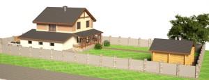 Проект дома 10 на 10 метров с гаражом. Вид на участке