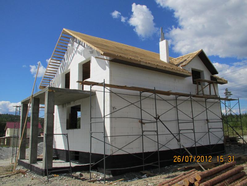 Проект дома 8 на 10 из несъемной опалубки боковой фасад