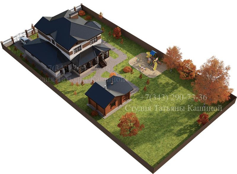 Проект дома из блоков вид на участке