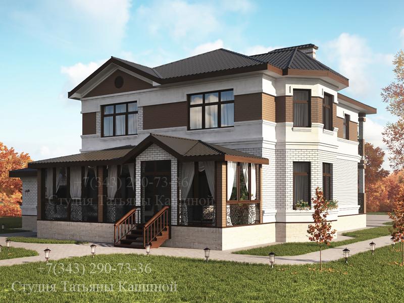 Проект двухэтажного дома из блоков вид со двора
