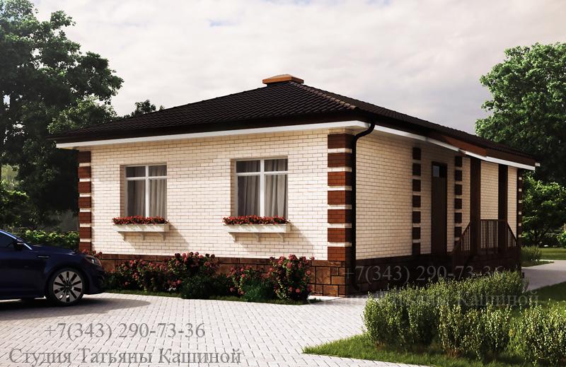 Проект одноэтажного дома с 2 спальнями С-78