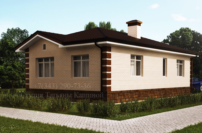 Проект одноэтажного дома С-78 вид со двора